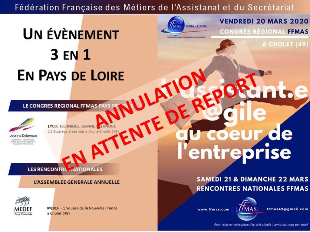 Read more about the article Annulation de l'événement choletais des 20 au 22 mars prochain