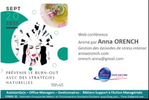 """Read more about the article PREVENIR LE """"BURN OUT"""" avec des stratégies naturelles – Web conférence 20 septembre à 18 h 45"""