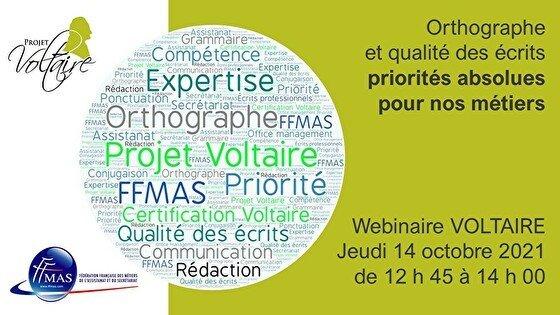 Read more about the article Orthographe et qualité des écrits : priorités absolues pour nos métiers ! Webinaire Projet Voltaire – 14 octobre  de 12 h 45 à 14 h